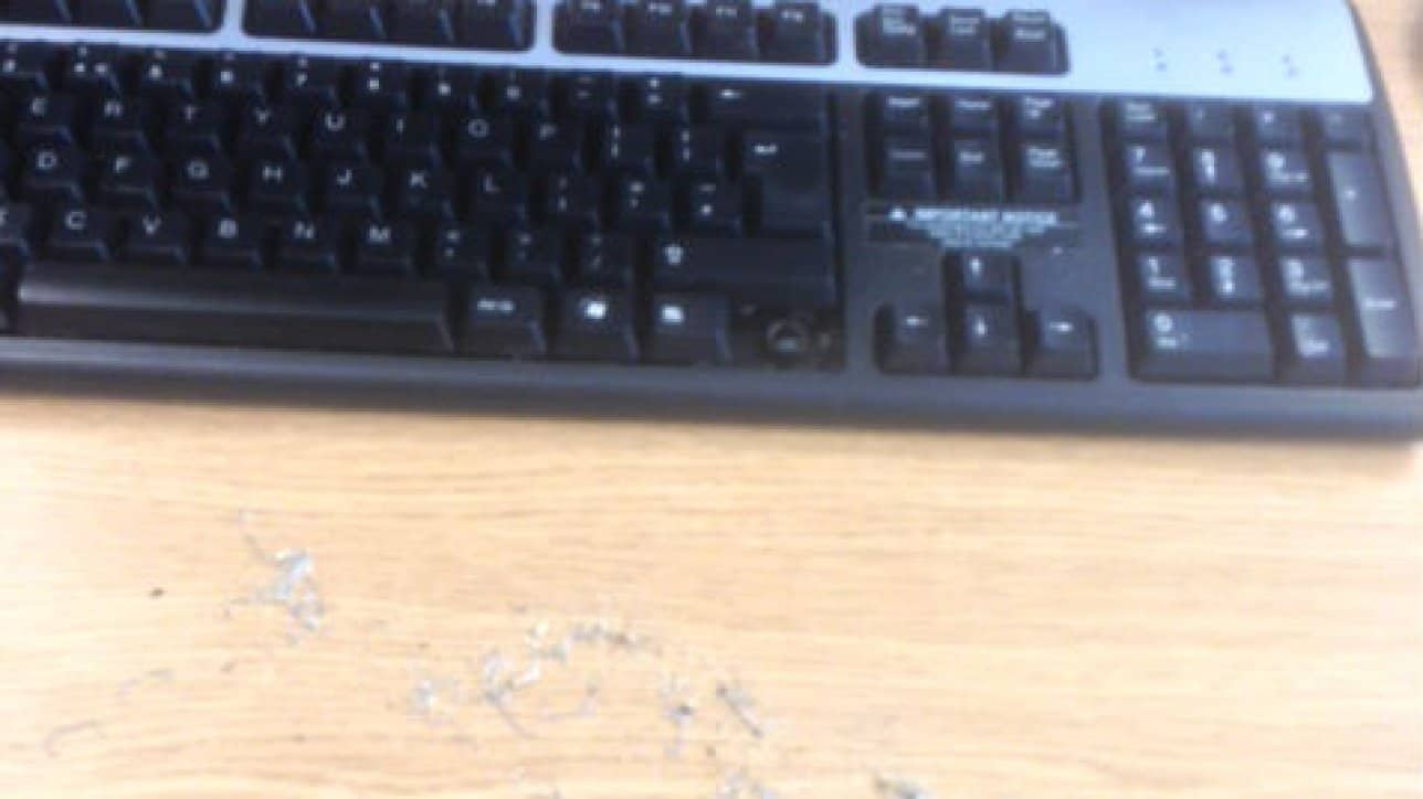 Photo taken by Kam from Capital, showing the amount of dirt in a keyboard - 2014
